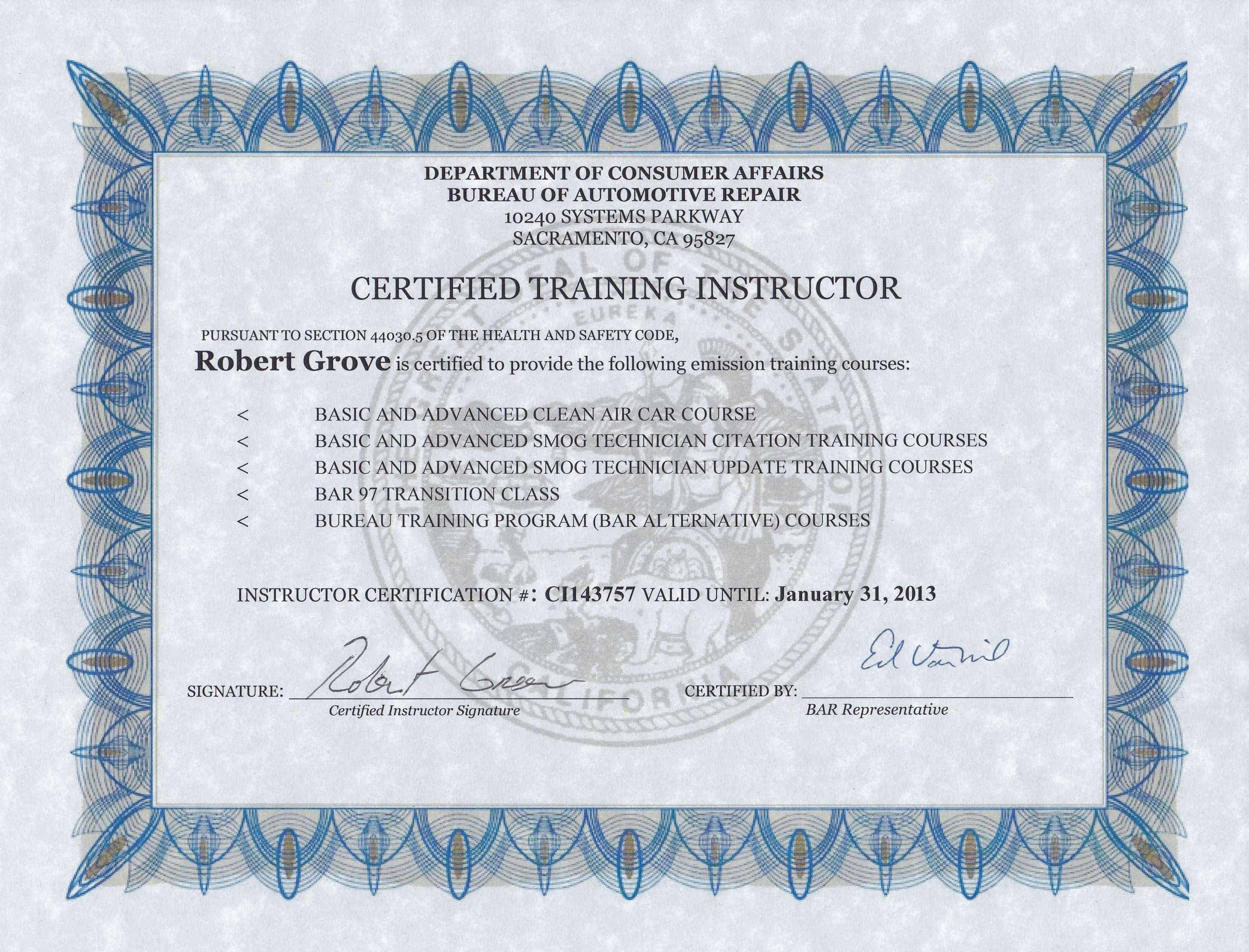 About robert grove and his credentials orange county mobile i am a bar certified training instructor xflitez Choice Image