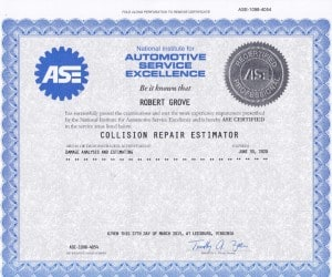 I am an ASE certified Collision Repair Estimator