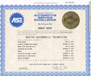 I am an ASE certified master automobile technician