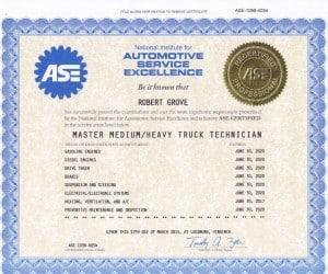 I am an ASE certified Master Medium/Heavy Truck Technician