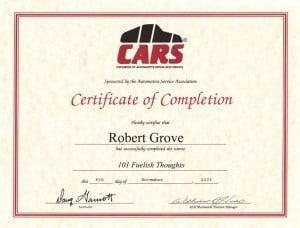 CARS 101- Mobile Mechanic Certification