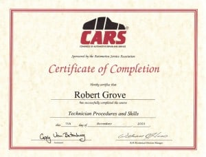 CARS Mobile Technician Procedures and Skills